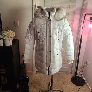Michael Kors Hooded Down Coat w/ Faux Fur Hood